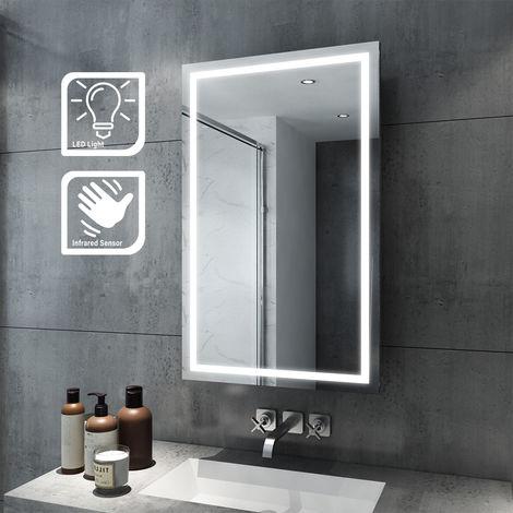 ELEGANT 430 x 690mm Illuminated LED Bathroom Sliding Mirror Cabinet Wall Storage Mirror with Lights with Sensor Switch