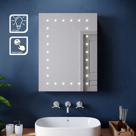 ELEGANT 450 x 600mm Modern LED Mirror Cabinet Stainless Steel Frame Bathroom Wall Storage Mirror with Lights and Adjustable inside Shelf