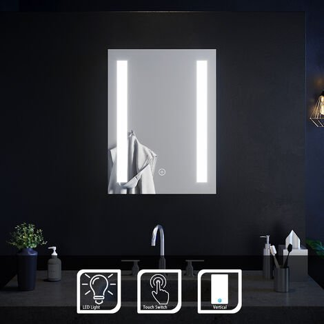ELEGANT 450 x 600mm Rectangular Backlit LED Illuminated Bathroom Mirror Wall Mirror with Light Touch Sensor