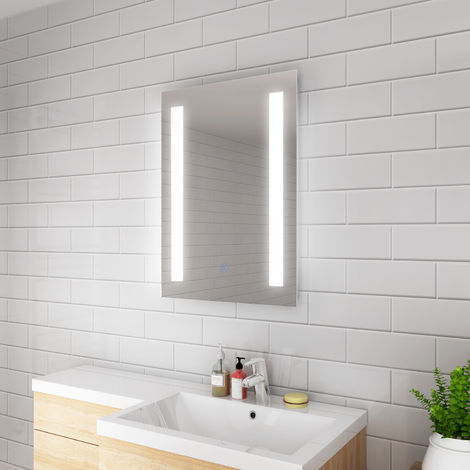 ELEGANT 450 x 600mm Rectangular Backlit LED Illuminated Bathroom Mirror Wall Mirror with Light Touch Sensor