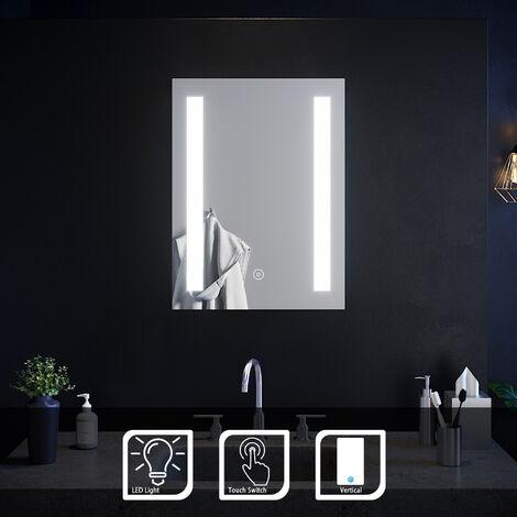 "main image of ""ELEGANT 450 x 600mm Rectangular Frontlit LED Illuminated Bathroom Mirror Wall Mirror with Light Touch Sensor"""