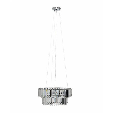Elegant 5 Way Tiered Chrome & Clear Crystal Ceiling Light Pendant Fitting - Add LED Bulb - Silver