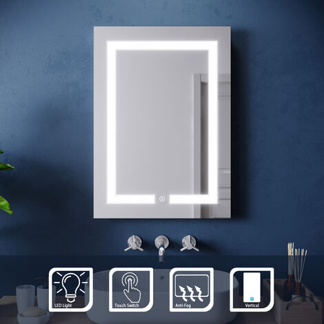 ELEGANT 500 x 700 mm Illuminated LED Bathroom Mirror Light Touch Sensor with Demister