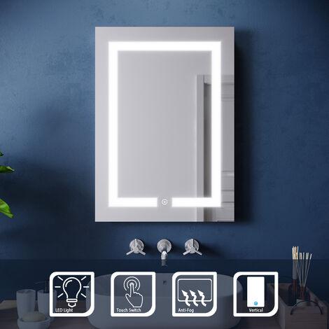 ELEGANT 500 x 700 mm Illuminated LED Bathroom Mirror Light Touch Sensor with Demister