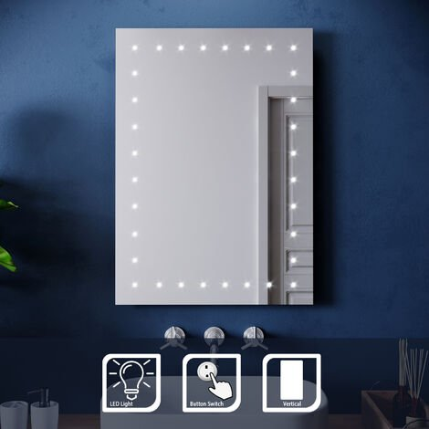 ELEGANT 500 x 700 mm Illuminated LED Bathroom Mirror with Light Button switch