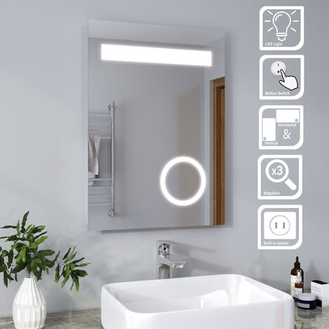 ELEGANT 500 x 700 mm Illuminated LED Bathroom Mirror with Lights and Shaver Socket Magnifying Mirror with Button Switch