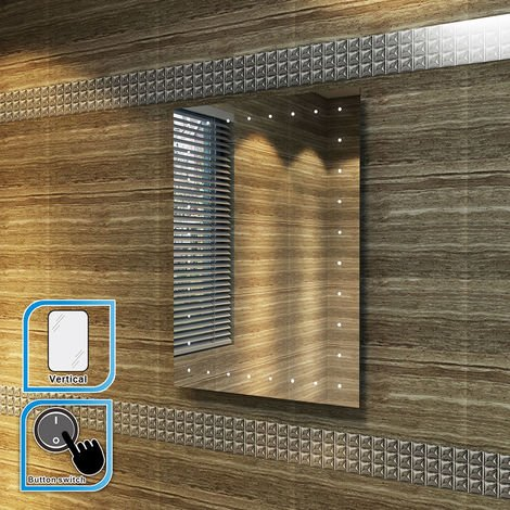 ELEGANT 500 x 700 mm Illuminated LED Mirror Bathroom Mirror with Light Button switch