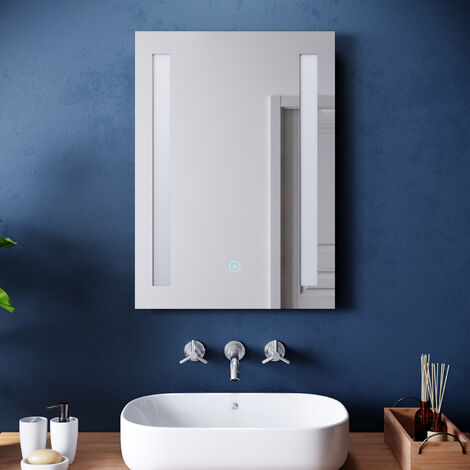 ELEGANT 500 x 700mm Illuminated LED Frontlit Bathroom Mirror  Sensor Touch  with Demister Pad