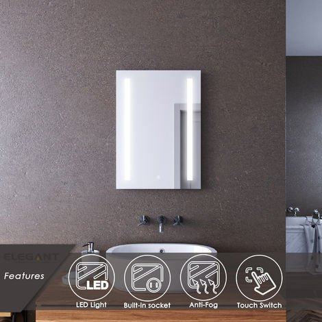 ELEGANT 500 x 700mm Illuminated LED Wall Mounted Bathroom Mirror with Lights Sensor Touch Control with Demister Pad Shaver Socket