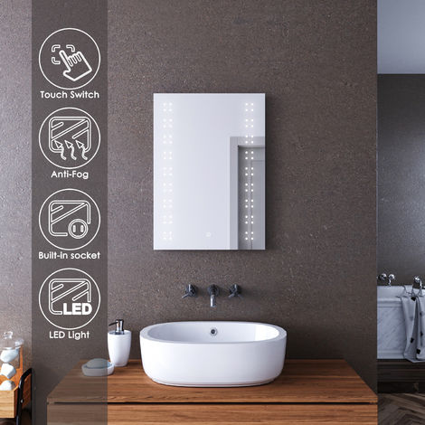 ELEGANT 500 x 700mm Modern Heated LED Illuminated Vertical Rectangle Bathroom Mirror Lights Touch Control Switch with Demister Pad/Shaver Socket