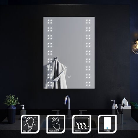 ELEGANT 500 x 700mm Modern LED Illuminated Vertical Bathroom Mirror Lights Touch Control Switch with Demister Pad