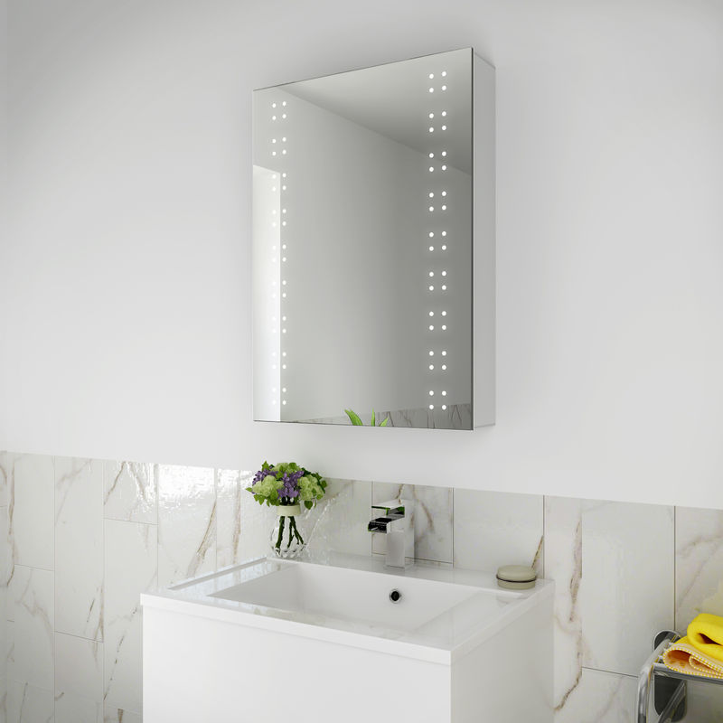 Elegant 500x700mm Illuminated Led Mirror Cabinet Stainless Steel Wall Storage Vertical Rectangle Bathroom Lights Sensor Switch With Demister