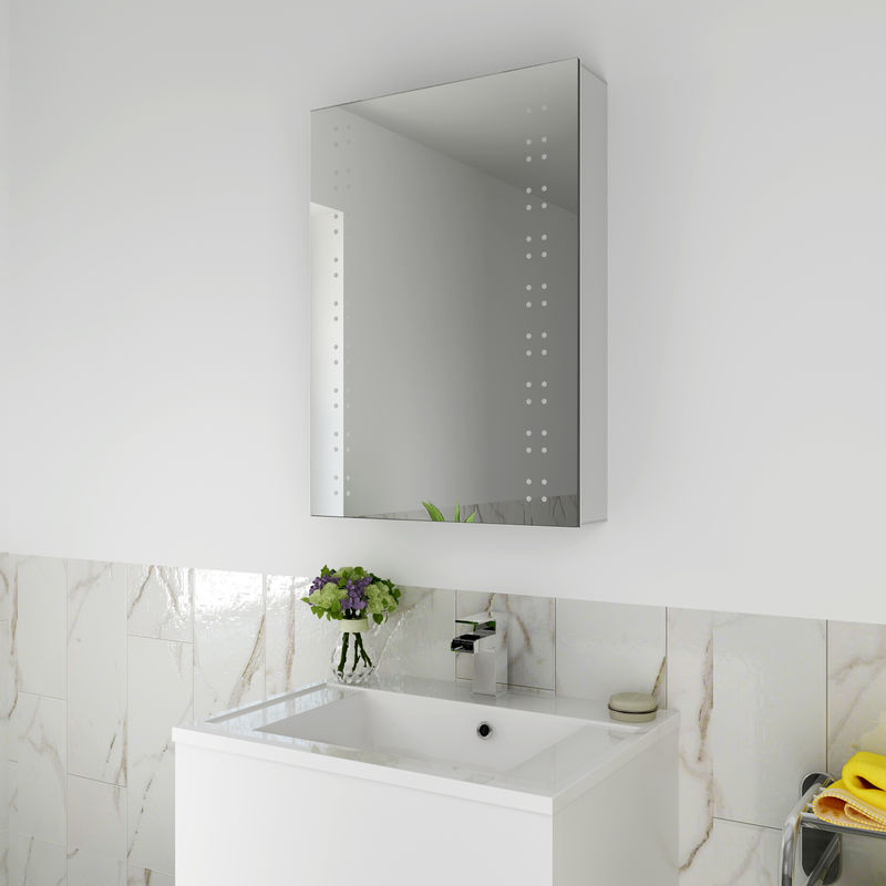 Elegant 500x700mm Illuminated Led Mirror Cabinet Stainless Steel Wall Storage Vertical Rectangle Bathroom Lights Sensor Switch With Demister Pad