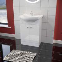 ELEGANT 515mm High Gloss White Vanity unit in-set Ceramic Basin, Vanity Cabinet Bathroom Storage Furniture Deep Sink Unit