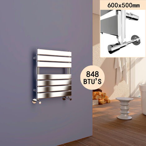 ELEGANT 600 x 500 Chrome Flat Panel Heated Towel Rail Radiator