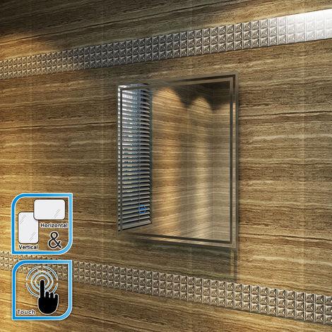 ELEGANT 600 x 500 mm Horizontal Vertical Illuminated LED Bathroom Mirror Lights Touch Sensor