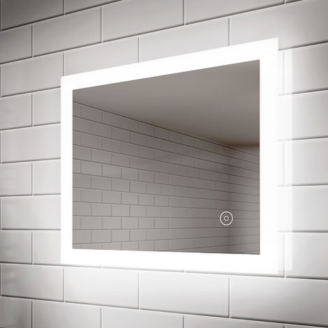 ELEGANT 600 x 500 mm LED Illuminated Bathroom Mirror Light Touch Sensor Horizontal Vertical