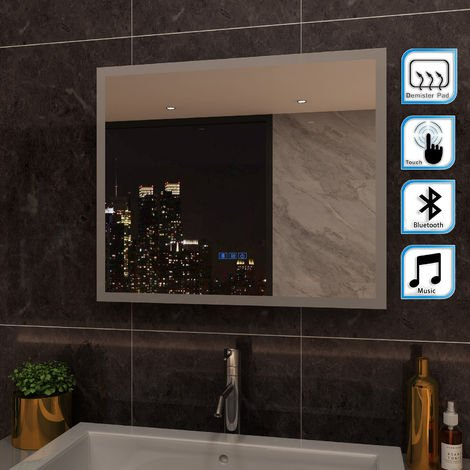 ELEGANT 600 x 500mm Anti-foggy Wall Mounted Mirror,Back-lit LED Illuminated Bathroom Mirror with Bluetooth Audio