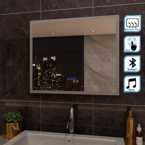 ELEGANT 600 x 500mm Anti-foggy Wall Mounted Mirror,Back-lit LED Illuminated Bathroom Mirror with Bluetooth Audio