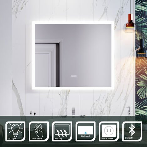 ELEGANT 600 x 500mm Anti-foggy Wall Mounted Mirror,Frontlit LED Illuminated Bathroom Mirror with Bluetooth Audio