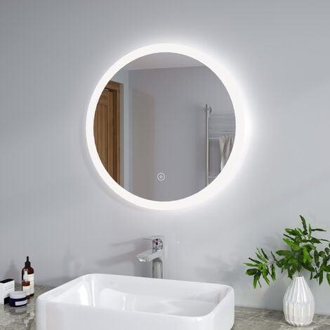 ELEGANT 600 x 600 mm Modern Round Illuminated LED Bathroom Mirror Touch Sensor + Demister