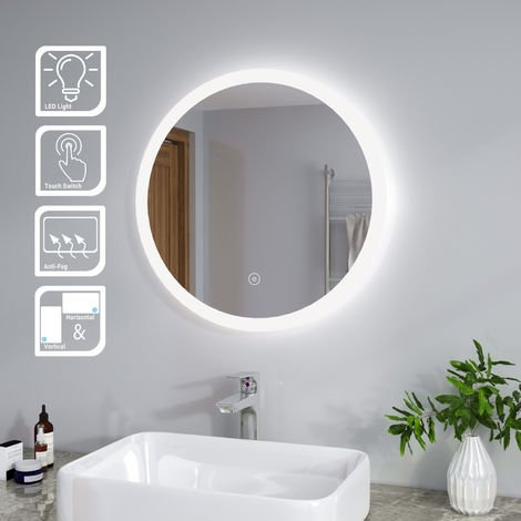ELEGANT 600 x 600 mm Modern Round Illuminated LED Bathroom Mirror Touch Sensor + Demister