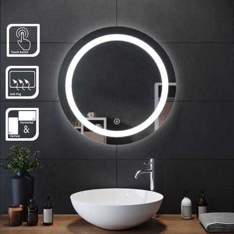 ELEGANT 600 x 600mm Round Illuminated LED Bathroom Mirror Touch Sensor + Demister