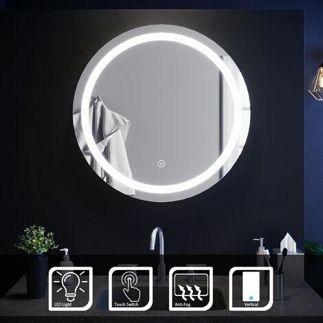 ELEGANT 600 x 600mm Round Illuminated LED Bathroom Mirror Touch Sensor + Demister