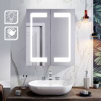 ELEGANT 600 x 700mm Modern LED Mirror Cabinet Stainless Steel Frame Bathroom Wall Storage Mirror with Lights Sensor Switch