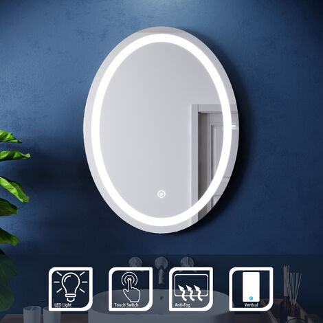ELEGANT 600 x 800 mm Modern Round Illuminated LED Bathroom Mirror Touch Sensor + Demister