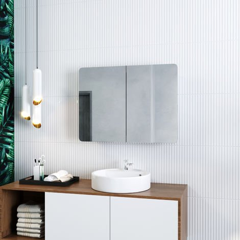 ELEGANT 600 x 800 mm Stainless Steel Bathroom Mirror Cabinet Wall Mounted 2 Door with Adjustable Shelves