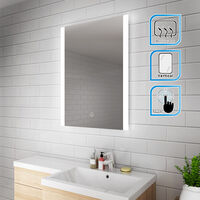 ELEGANT 600 x 800 mm Vertical Illuminated LED Bathroom Mirror Light Touch Sensor with Demister