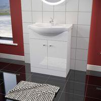 ELEGANT 600mm High Gloss White Vanity unit in-set Ceramic Basin, Vanity Cabinet Bathroom Storage Furniture Deep Sink Unit