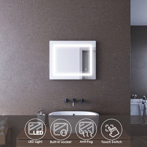 ELEGANT 600x500mm Illuminated LED Bathroom Mirror Lights Curved Edge Design Backlit Shaver Socket Bath Vanity Wall Mounted Mirrors with Touch Switch Heated Demister Pad