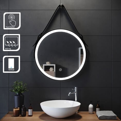ELEGANT 600x600mm Belt Decorative Round Illuminated LED Light Bathroom Mirror Makeup Mirror with Sensor Touch control, Dustproof & Anti-fog,Cool White Light