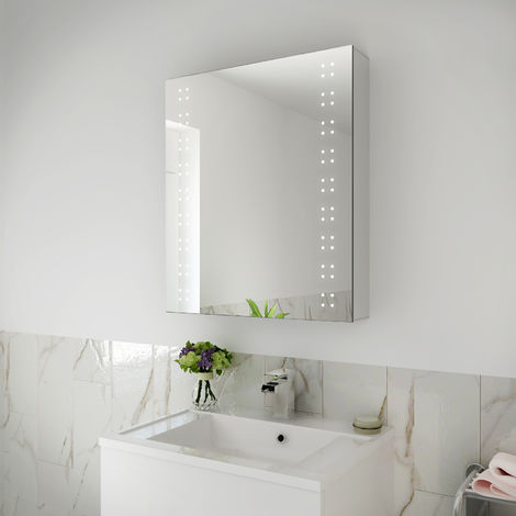 ELEGANT 600x700mm Illuminated LED Bathroom Mirror Cabinet Stainless Steel Frame Wall Storage Mirror with Lights