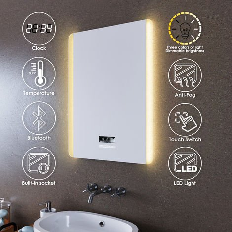 ELEGANT 600x800mm Illuminated LED Bathroom Mirror Lights Dual Side Light Color Adjustable Shaver Socket Bath Vanity Wall Mounted Mirrors with Touch Switch Heated Demister Pad