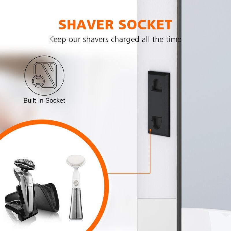 Elegant 600x800mm Illuminated Led Light Bathroom Mirror Touch Control Anti Fog Clock Function Bluetooth Audio Shaver Socket