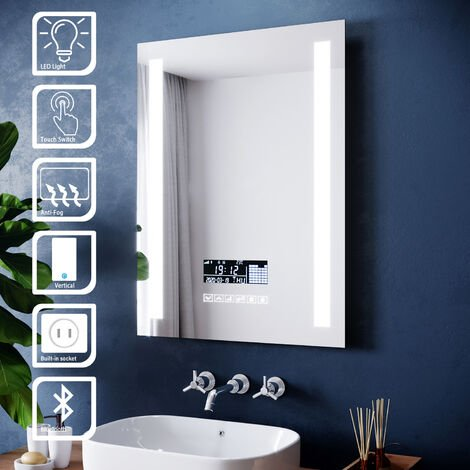 ELEGANT 600x800mm Illuminated LED Light Bathroom Mirror Touch control | Anti-Fog | Clock Function | Bluetooth Audio | Shaver Socket
