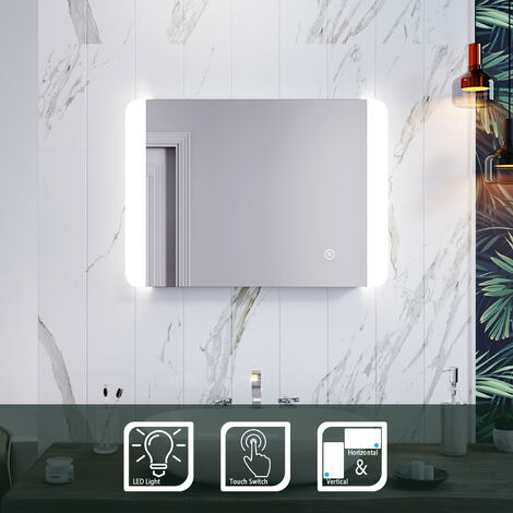 ELEGANT 700 x 500 mm Horizontal Vertical Illuminated LED Bathroom Mirror with Touch Sensor