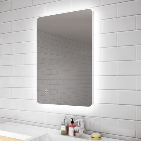 ELEGANT 700 x 500 mm Modern Backlit Illuminated LED Bathroom Mirror Light with Touch Sensor Vertical Horizontal