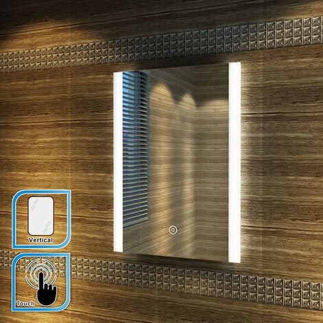 ELEGANT 700 x 500mm Vertical Illuminated LED Bathroom Mirror Light Touch Sensor