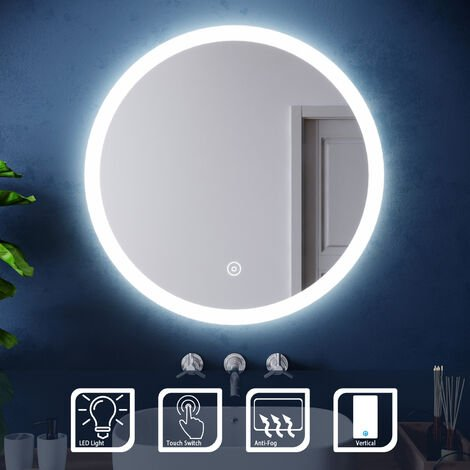 ELEGANT 700 x 700 mm Modern Round Illuminated LED Bathroom Mirror Touch Sensor + Demister
