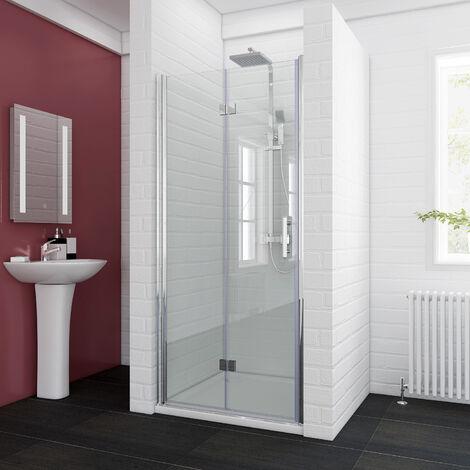 ELEGANT 700 x 700mm Bifold Shower Enclosure Glass Shower Door Reversible Folding Cubicle Door with Shower Tray