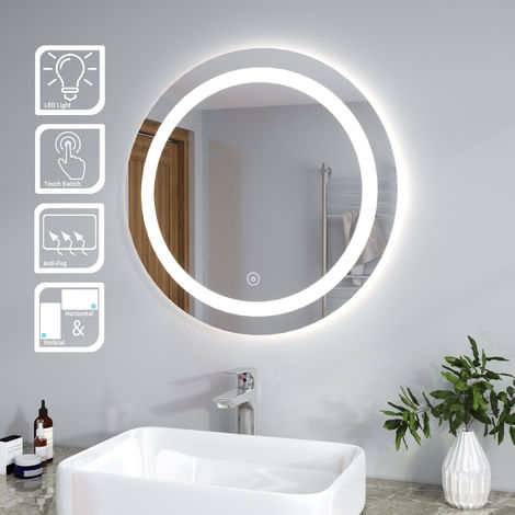 ELEGANT 700 x 700mm Round Illuminated LED Bathroom Mirror Touch Sensor + Demister