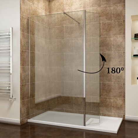 ELEGANT 700mm Easy Clean Glass Wetroom Shower Screen with 300mm Flipper Panel + 1200x800mm Stone Walk in Shower Enclosure Tray and Waste