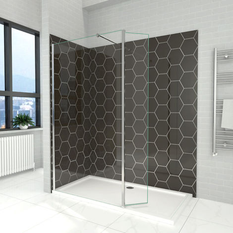 Elegant 700mm Walk in Shower Screen 6mm Tougheded Safety Wet Room with 300mm Flipper Panel,1500x800mm Stone Tray Included