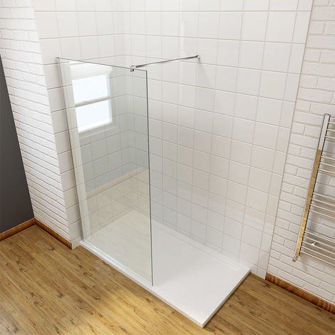 ELEGANT 700mm Wet Room Shower Enclosure Easy Clean Screen Panel with 800x1200mm Walk in Stone Shower Tray and Waste