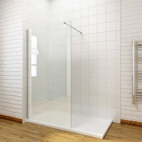 ELEGANT 700mm Wet Room Shower Enclosure Easy Clean Screen Panel with 900x1200mm Walk in Stone Shower Tray and Waste