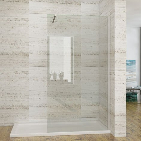 ELEGANT 700mm Wet Room Shower Screen Panel 8mm Easy Clean Glass Walk in Shower Enclosure